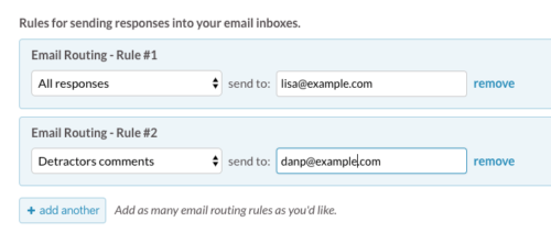 settings page: route survey responses to email addresses